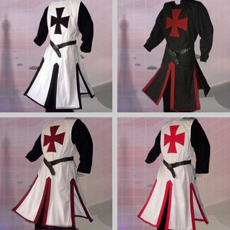 Disfraz de caballero cruzado Medieval, Camiseta larga tipo chaleco para hombre, camisa cruzada, Guerrero, sobretodo, armadura, Tabard con cinturón, Top para adultos 4xl