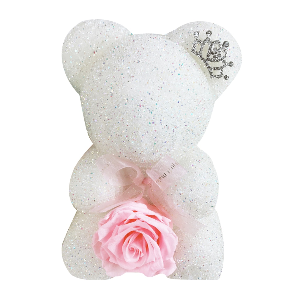Everlasting Flower Crystal Diamond Bear Valentine's Day Christmas New Year Gift For Girls Rhinestone Rose Bear With Gift Box