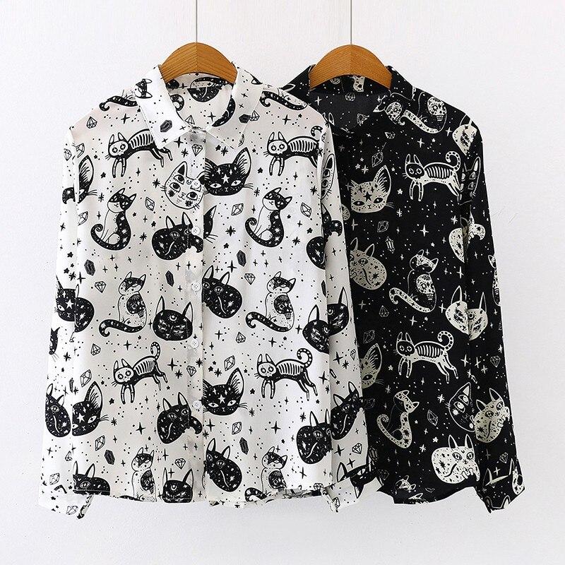 Las mujeres Harajuku camisa de impresión del gatito Otoño de manga larga Tops y blusas Oficina dama manga larga negro blanco blusas