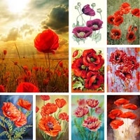 poppy diamond painting square round flower embroidery 5d cross stitch mosaic home decor
