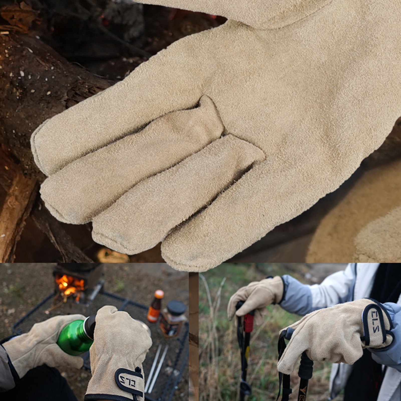 New outdoor barbecue gloves, anti-scald barbecue gloves, double-layer protection design, durable fire protection gloves #W