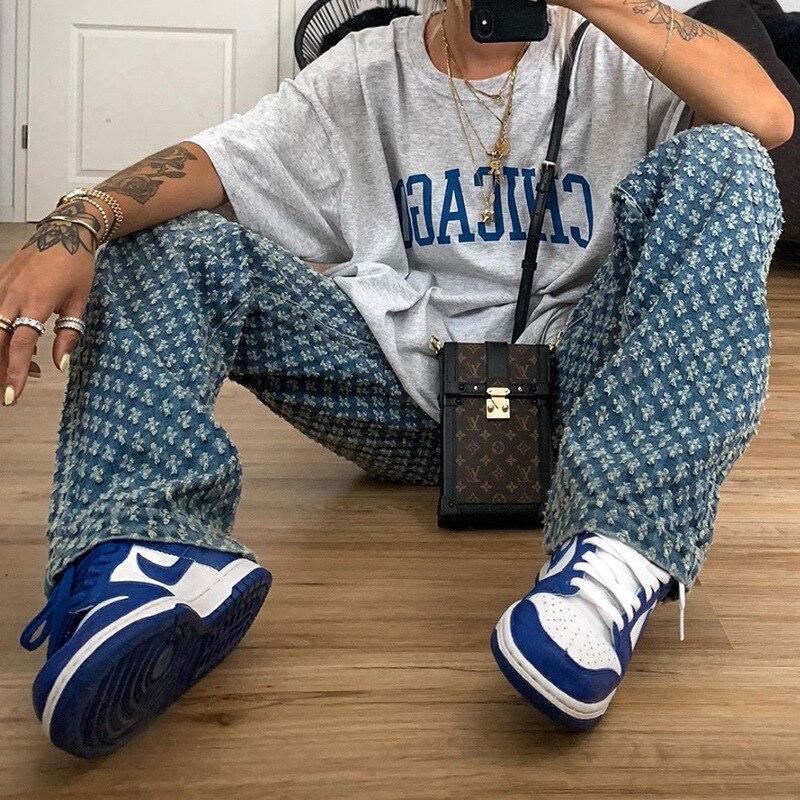 Женские джинсы с дырками MyZyQg, свободные узкие джинсы с высокой талией и карманами, модные женские брюки в стиле Харадзюку