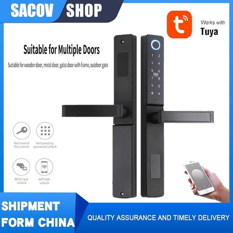 Get TUYA lock Wifi Fingerprint card Waterproof  lock Push Pull Smart Door Lock for Glass Sliding door  Wooden Home Outdoor Gate door