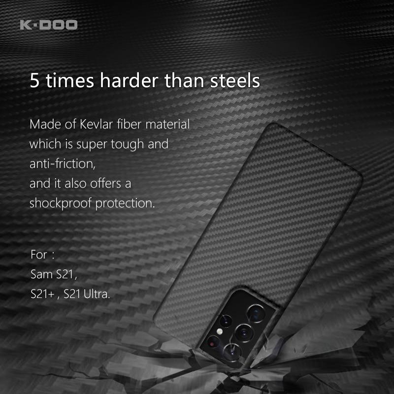 K-DOO كيفلر حقيقي من ألياف الكربون مادة مضادة للرصاص سوبر دائم الهاتف الغطاء الخلفي لسامسونج s21/s21 +/s21 الترا