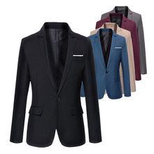 Hommes coréen coupe ajustée blazer masculino coton blazer costume veste de bureau noir bleu grande taille hommes blazers hommes manteau mariage