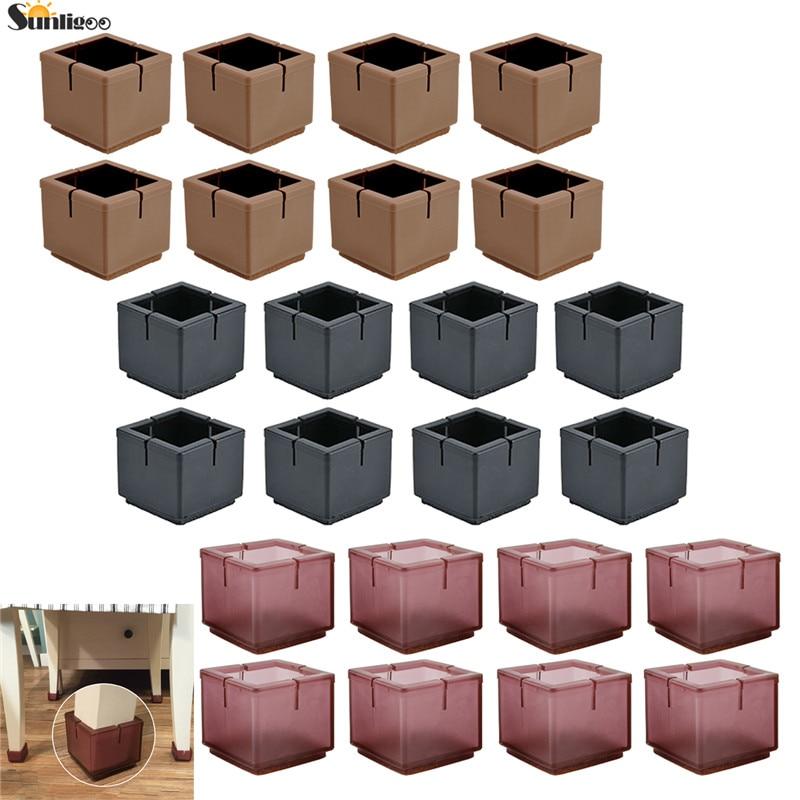 Sunligoo New 8 Pcs Square Chair Leg Pads Protection Furniture Floor Protectors Table Leg Covers Caps Anti-slip Prevent Scratches