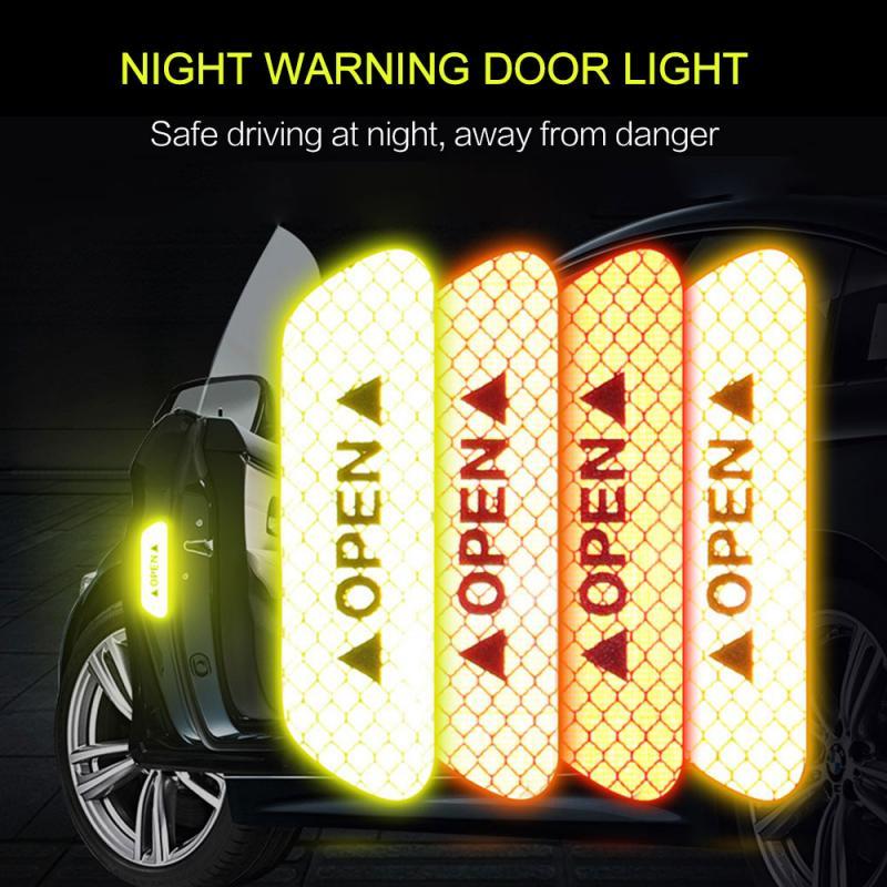4 peças/set adesivos de carro aviso adesivos reflexivos dicas de abertura da porta anti-colisão adesivos de segurança acessórios do carro