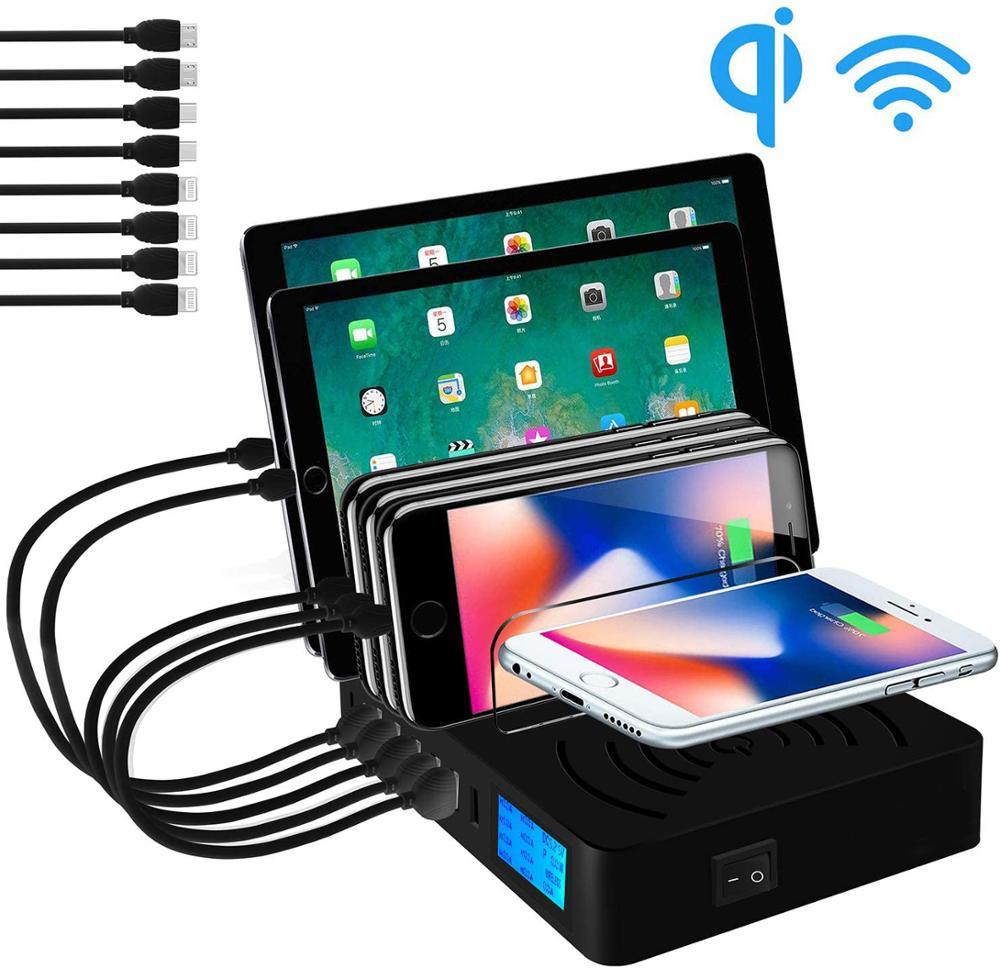 شاحن USB متعدد Qi شاحن لاسلكي سريع لهاتف Iphone 8X11 Pro سامسونج S10 شاشة LCD شحن سريع محطة شحن Carregador