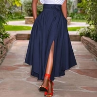 zanzea fashion irregular skirts holiday zipper high waist a line skirts womens summer long skirts vintage beach solid skirts