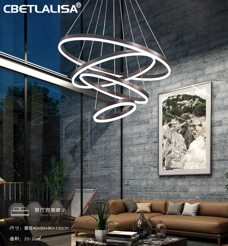 Moderno LED araña anillos redondo lámpara de techo lámpara de iluminación para la sala de estar Comedor Cocina café y oro