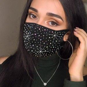 Fashion Sparkly Rhinestone Mask Elastic Reusable Washable Fashion Masks Face Bandana Face Decor Jewelry Dropshipping