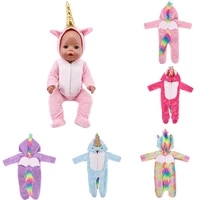 cute unicorn doll rompers suit for 18 inch american and doll clothes fit 43cm new baby doll our generation dolls garment
