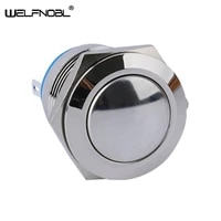 waterproof 19mm domed round head switch 1no metal 2pin momentary electric auto reset push button switch