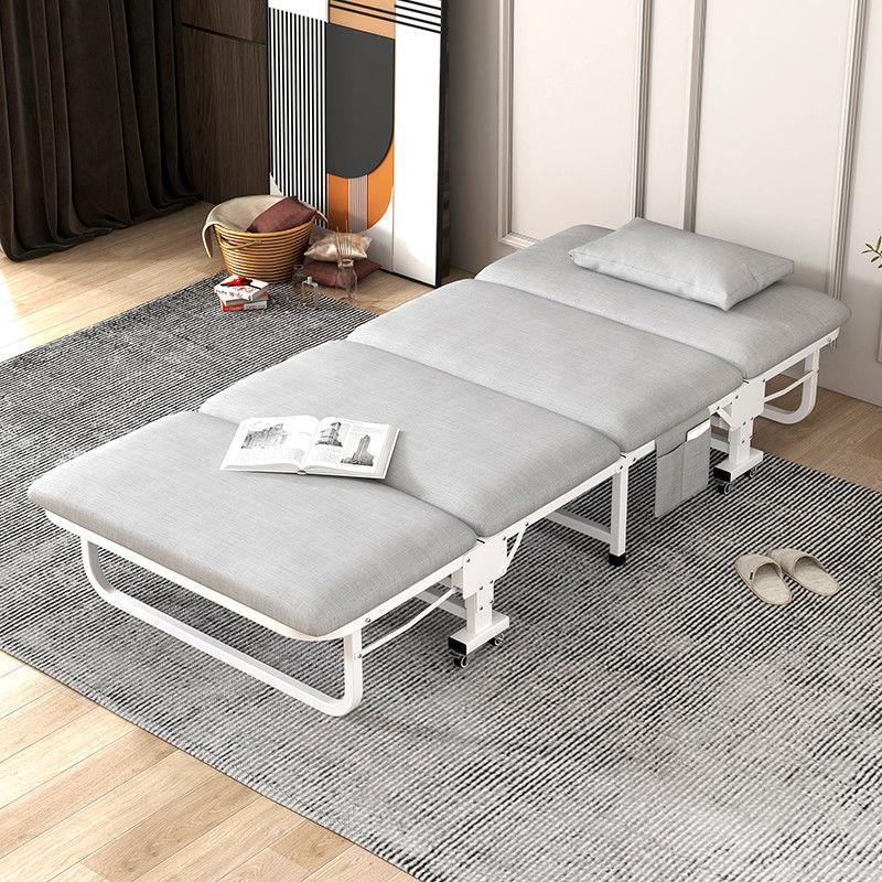 Tumbona plegable individual para el hogar y el Hospital cama plegable Simple portátil de madera sólida de tabla dura de esponja