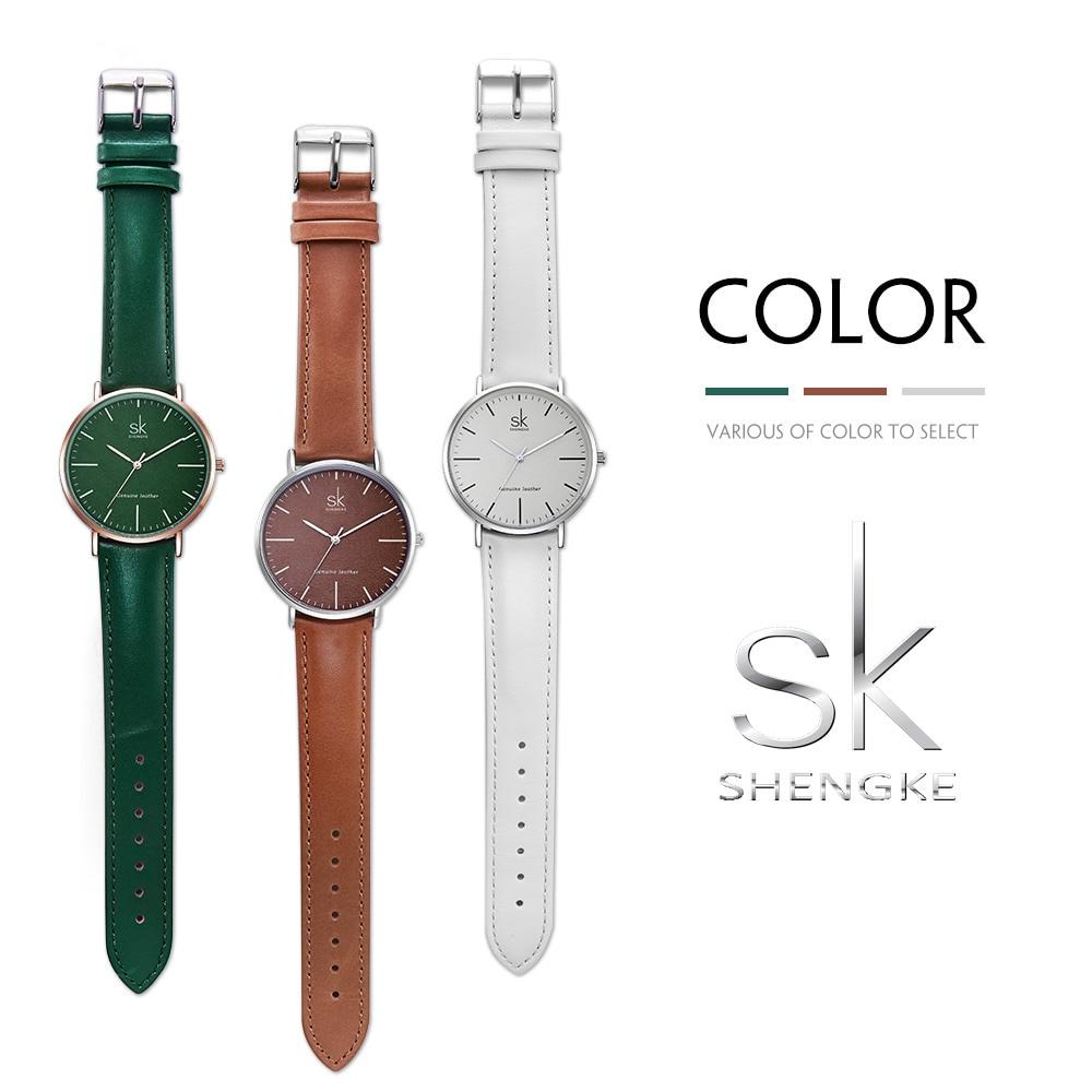 SK New Ladies Fashion Casual Watches Green Catcher Leather Strap Belt Quartz Watch for Women Lady Dress Clock relogio feminino enlarge