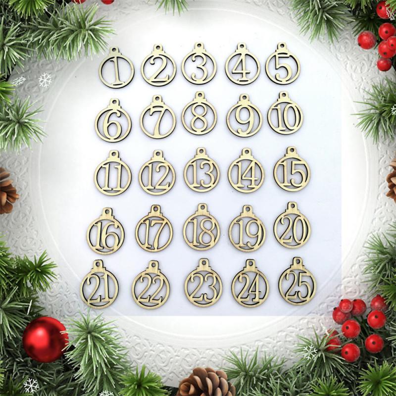 25 pçs/set Calendário De Natal De Madeira Número 1-25 Tags Natal Advento Calendários Presentes Para Crianças Partido Home Decorações de Natal