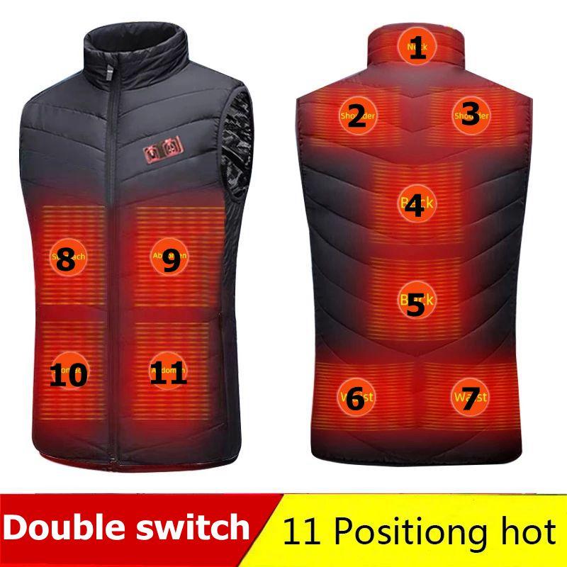 الشتاء الذكية المزدوج التبديل 11 مناطق ساخنة سترة الرجال معطف ذكي USB تسخين كهربائي وسادة مبطنة الحرارية الدافئة الملابس الشتاء