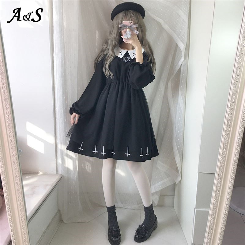 Gothic Lolita Dress Harajuku Fashion Cross Cosplay Female Dress Japanese Soft Sister Style Star Tull