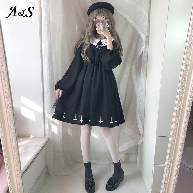 Gothic Lolita Dress Harajuku Fashion Cross Cosplay Female Dress Japanese Soft Sister Style Star Tulle Dress Cute Girl Streetwear