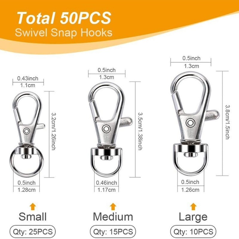 100 Pcs Swivel Snap Hooks with Key Rings Lobster Claw Clasps S/M/L Assorted Size 45BC