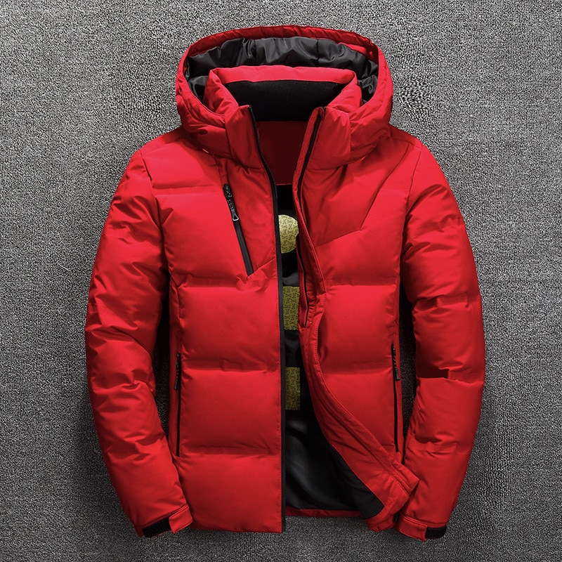 Winter Jackets Mens Casual Warm Thick Quality Men Winter Coat Duck Down Fluffy Short Outdoor Casual Warm Hooded Jacket