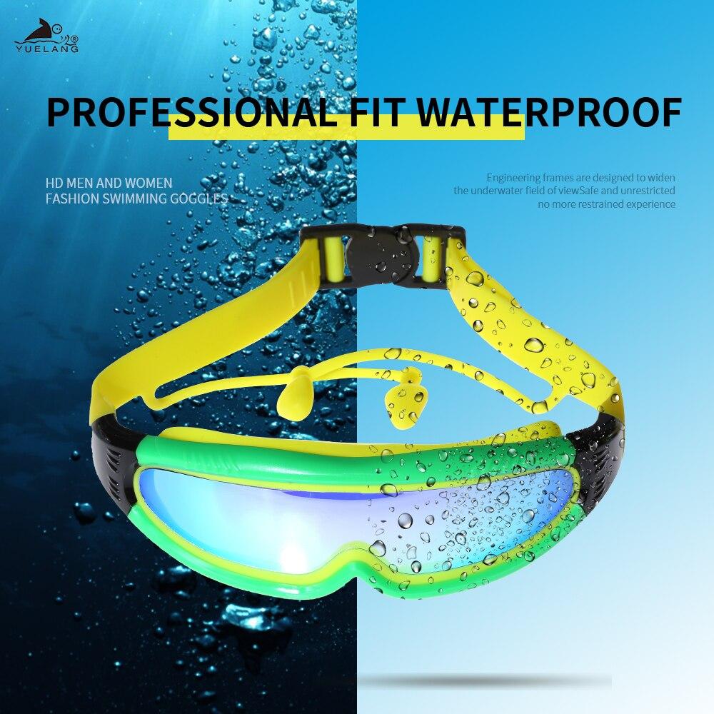 Профессиональные очки для плавания YUELANG, детские очки для плавания с заглушками для ушей, водонепроницаемые противотуманные очки с силиконовым гальваническим покрытием и защитой от УФ-лучей