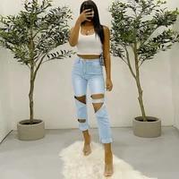 korean fashion high waist oversized y2k jeans pencil pants women ripped denim pants summer streetwear women skinny denim trouser