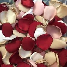 Pétalos de rosa de seda Artificial para bodas, 100 unids/bolsa, pétalos de rosa satinados, hechos a mano