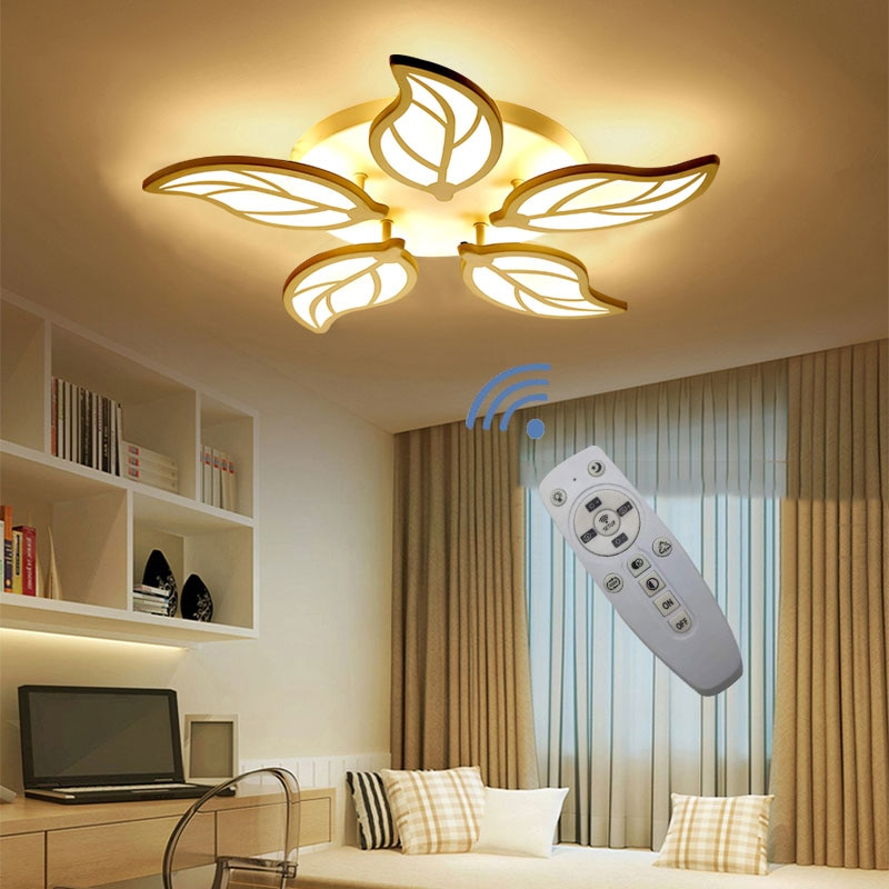 Lámpara LED para dormitorio, estudio, balcón, techo, lámpara moderna de acrílico, lámpara de atenuación remota, AC100-240V, Envío Gratis