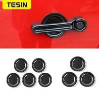 tesin abs 24 door carbon fiber car exterior door handle bowl decoration cover stickers for jeep wrangler jk 2008 up car styling