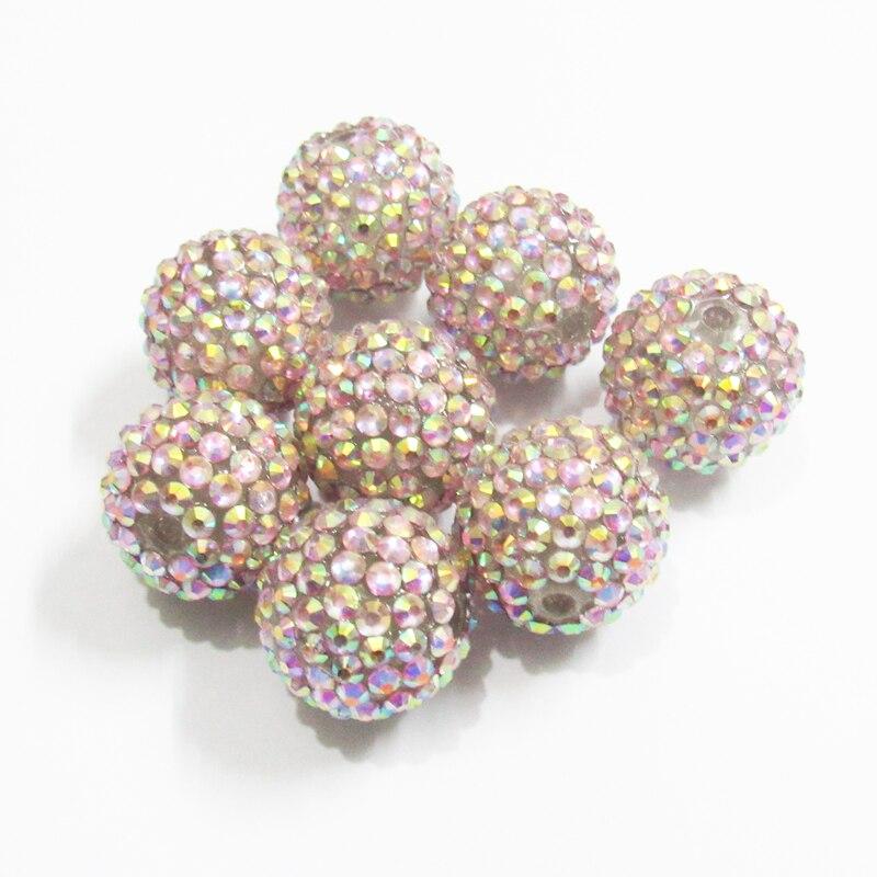 20mm 100pcs/lot #32 Pink AB  Resin Rhinestone Ball Beads,Chunky Beads For Kids  Jewelry Making
