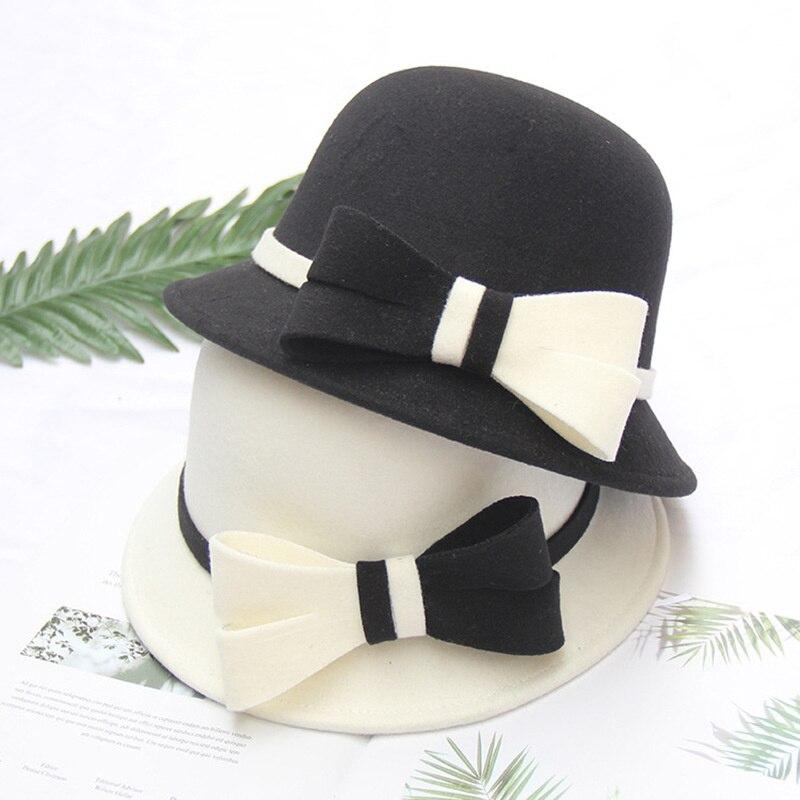Wool Fedora Hat For Women Retro Wool Felt Hat Winter Ladies Black Church Hats Sombreros Bow Fedoras