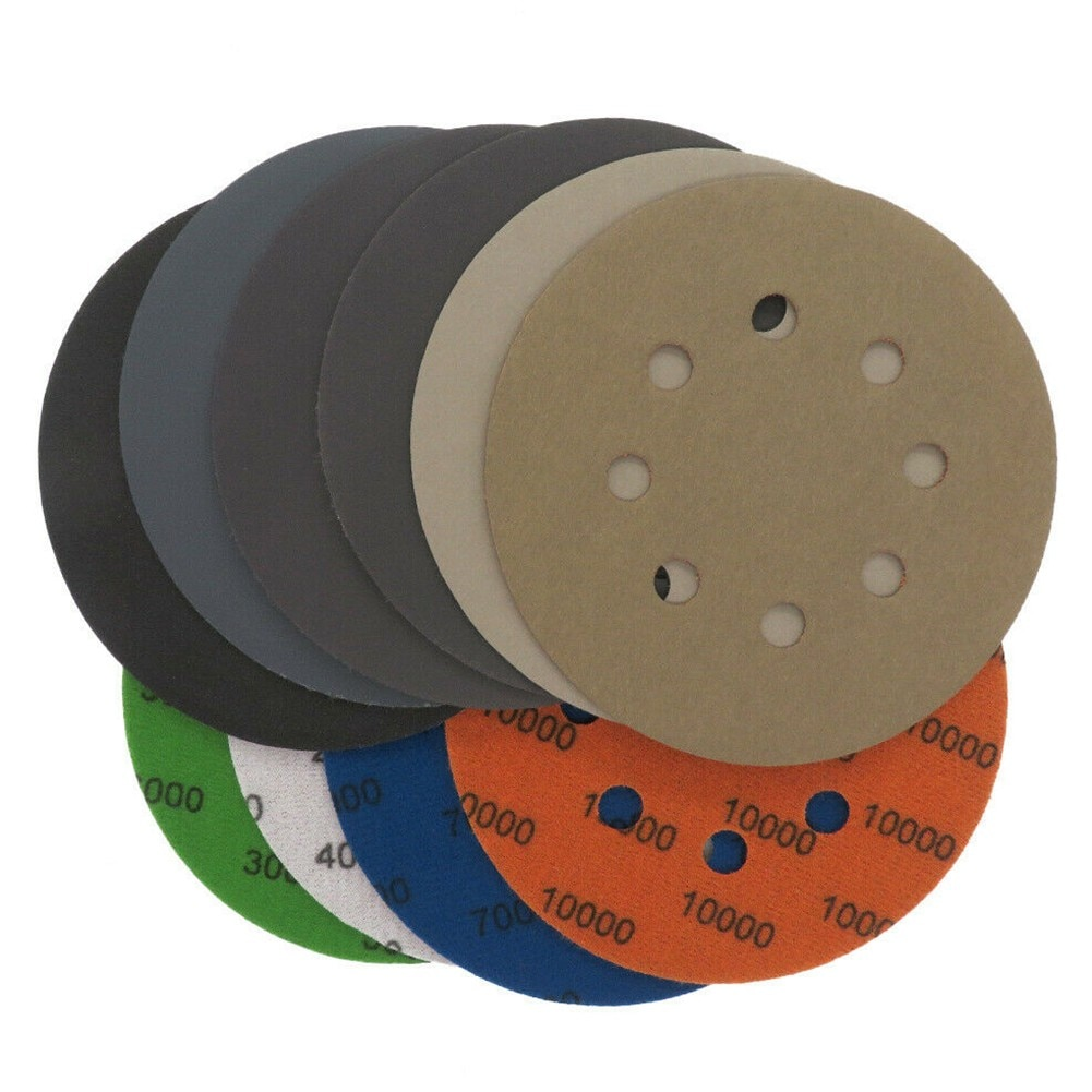 10 шт. 5 дюймов/125 мм 8 отверстий шлифовальные диски Липучка для влажной сухой наждачной бумаги 60-10000 Грит для шлифовки и полировки металла дере...
