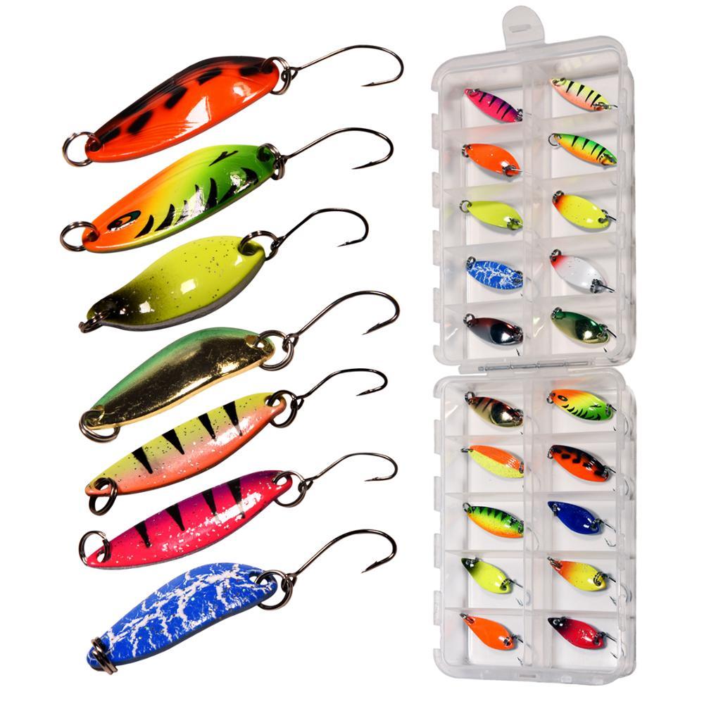 20 unids/caja cuchara metálica de pesca señuelo duro lentejuelas cuchara Spinner cebo trucha cuchara señuelo Conjunto 2g 3g 3,5g 4g 5g