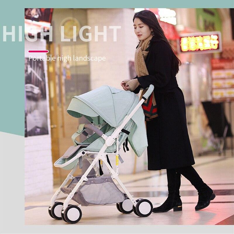 عربة أطفال خفيفة الوزن للغاية ، عربة أطفال محمولة قابلة للطي ، مقعد مستلق ، عربة بمظلة ذات مناظر طبيعية عالية