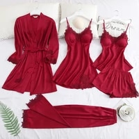 5 pieces pajamas set sexy lace stain women pajamas faux silk dressing gown lace summer spring robe sleepwear with chest padding