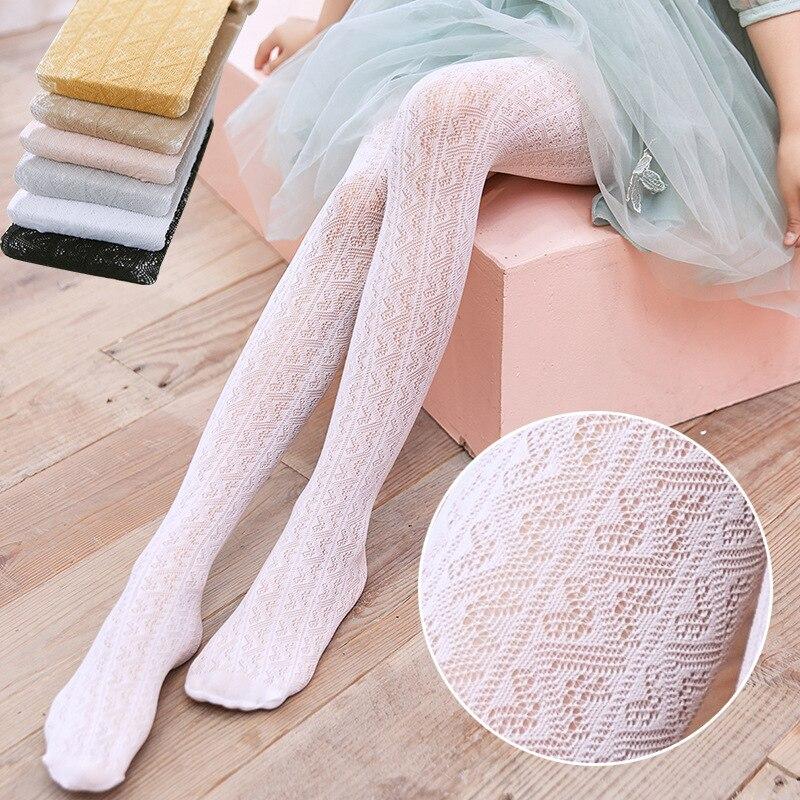 Para meninas fino verão meia-calça bebê branco rendas malha meias crianças bonito vestir princesa leggings