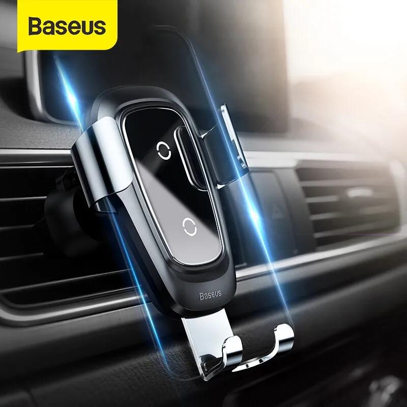 Baseus — Support universel et chargeur Qi de smartphone pour voiture, porte-téléphone pour grille d'aération, avec dispositif de verrouillage par gravité, recommandé pour iPhone 11Pro et Samsung