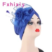 women big flower muslim solid knot turban party beanie elegant head scarf hair loss chemo cap headwrap bandanas headwear