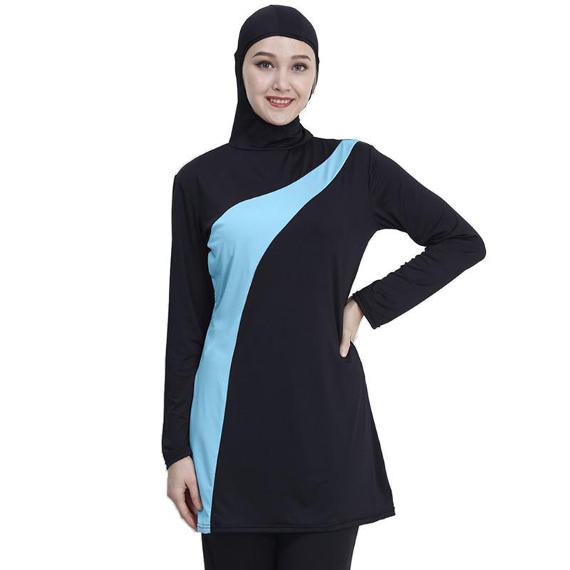 3XL طويلة الأكمام ملابس السباحة مسلم حجم كبير ملابس النساء ملابس سباحة إسلامية النايلون بوركيني السباحة مايوه دي باين فام musulmane