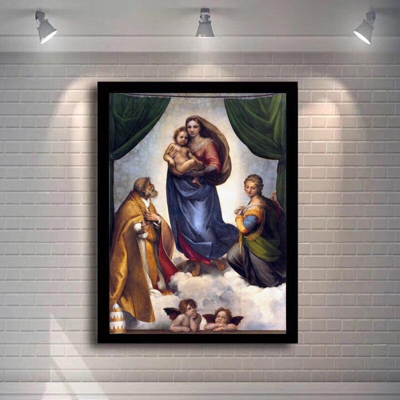 Venda quente casa decoração impressão pintura a óleo na lona parede decorações da arte, famosa pintura raphael sistine madonna cartazes