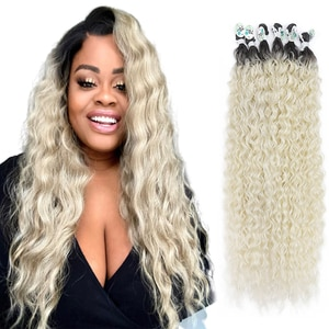 """Meepo Synthetic Curly Hair Bundles 28""""30""""32"""" 9pcs/Pack 300g Ombre Blonde Color Water Wave Corn Curly Hair Weave Bundles"""