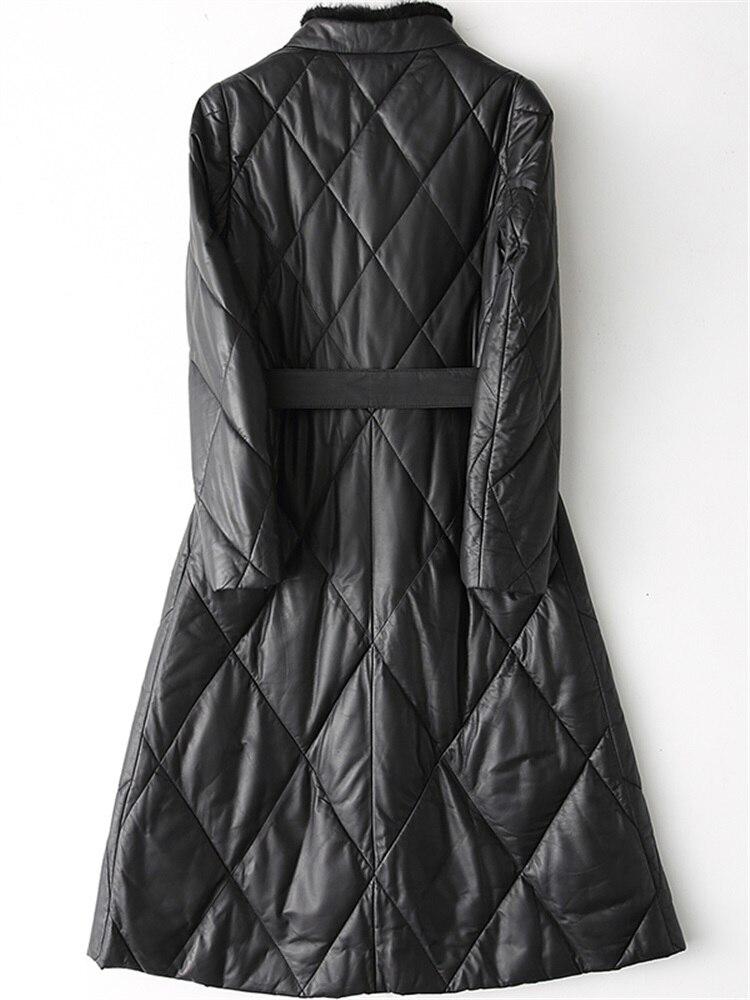 Femmes en cuir véritable veste en duvet de canard manteau 2020 nouveau hiver chaud en peau de mouton vison fourrure longue Parkas chaqueta mujer