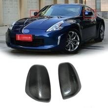 Fibra de carbono vista lateral espelho retrovisor capa guarnição para nissan 370z z34 2008 +