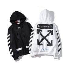 stripe arrow 19ss Off-White OW Men/Women Lovers models autumn winter Fashion Cotton Casual Hoodie Sweatshirt Hooded loose jacket