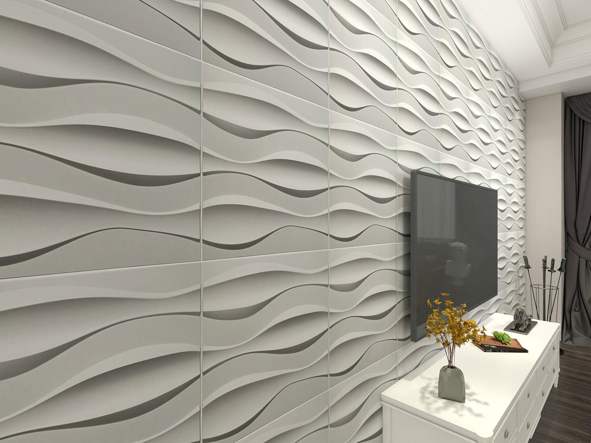 50x50 سنتيمتر البلاستيك القوام الزخرفية ثلاثية الأبعاد لوحات الحائط ، موجة كبيرة لغرفة المعيشة غرفة نوم التلفزيون خلفية السقف حزمة من 12 البلاط