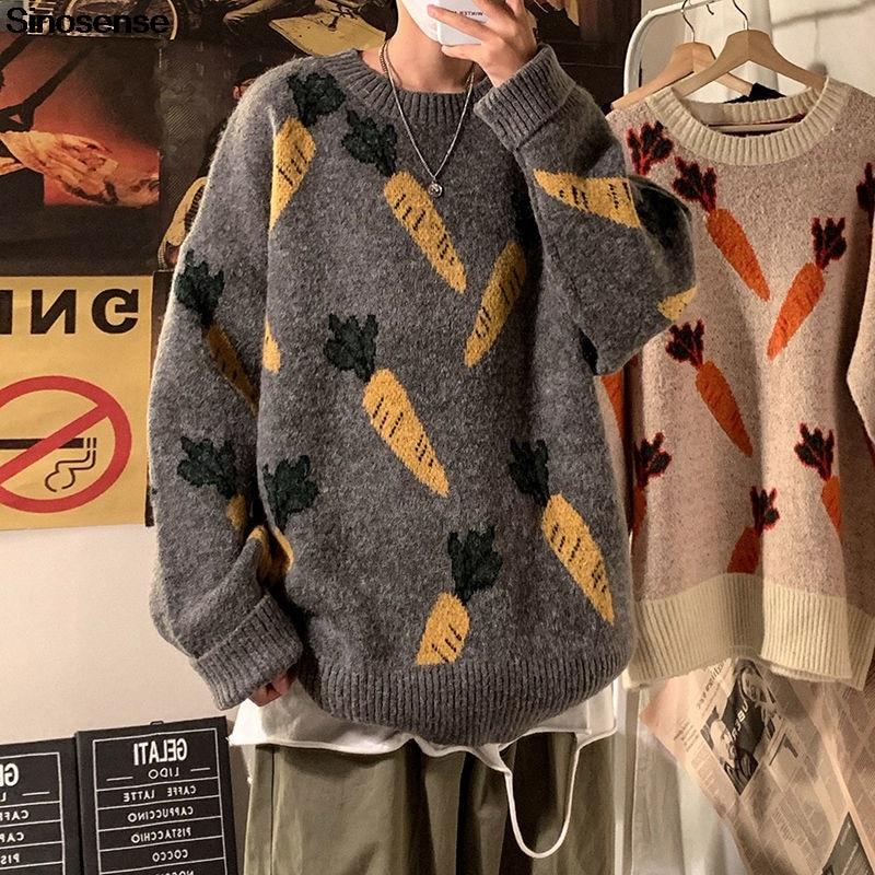 Broderie carotte pull hommes femmes Hip Hop Streetwear coréen en vrac tricoté chandails pulls hauts pull Overzied vêtements
