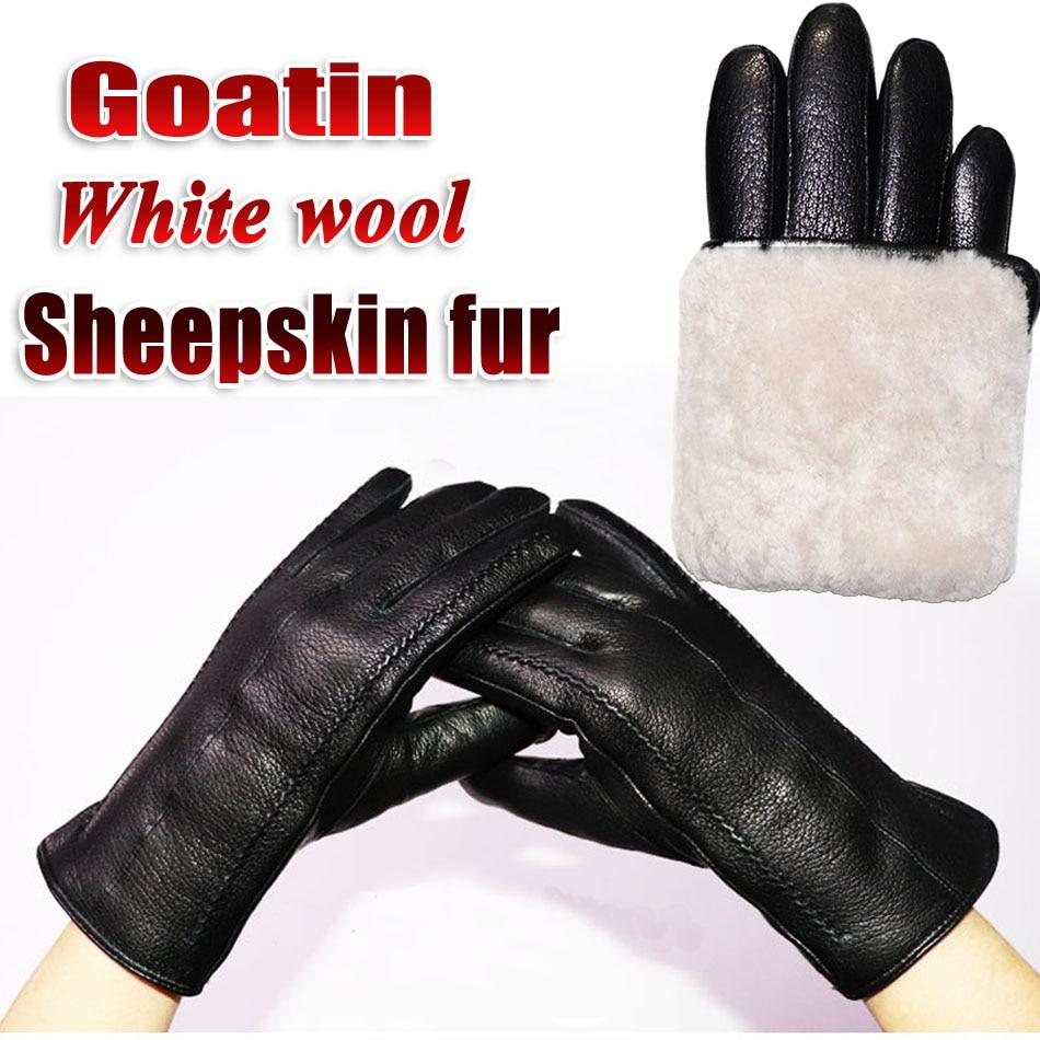 Deerskin pattern  goatskin gloves women's leather real wool gloves wool sheepskin gloves winter warm