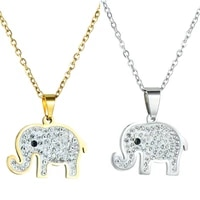charm crystal elephant necklace copper pendant gold color long chain necklace for women party birthday jewelry gift wholesale