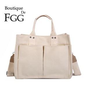 Boutique De FGG Stylish Handbags Canvas Large Women Casual Shoulder Bags with Handle Versatile Ladies Satchels Crossbody Bags